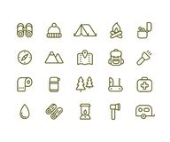 Camping icon set. Simple vector line icons of hiking, backpacking and the outdoors vector illustration