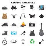 Camping icon set. Vector design symbol stock illustration