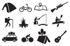 Camping Icon Set. Vector illustration of icon set related to camping and adventure Royalty Free Stock Photos