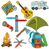 Camping icons Stock Images
