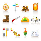 Camping icons. Set of 12 colorful camping icons in white background Royalty Free Stock Images