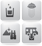Camping Icons. Various camping icons: Drinkable water, Shower, Nice Landscape View, Dumb Point (part of Platinum Square 2D Icons Set Royalty Free Stock Photography
