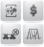 Camping Icons. Various camping icons: Games room, Dollar sign, Portable Clothes Line Banned, Playground (part of Platinum Square 2D Icons Set Stock Photos