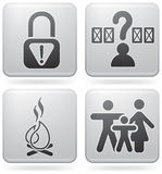 Camping Icons. Various camping icons: Park is not secure, Pick Your Own Site, Fire allowed, Familly friendly  (part of Platinum Square 2D Icons Set Stock Photos
