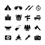 Camping Icons Black Stock Images