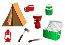 Camping icons, cdr vector Royalty Free Stock Photography