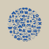 Camping icons in circle Stock Images