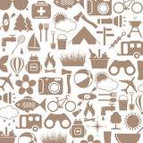 Camping icons. In circle on white background. Vector illustration Royalty Free Stock Images