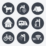 Camping icons - circular buttons, set 1 Stock Photos