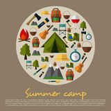 Camping icons collection. Summer Camping. Mountain Camp. Vector Illustration in Flat Design Style.Tent, map, compass, backpack, fl Royalty Free Stock Photos