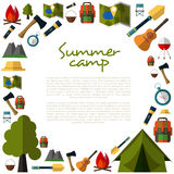 Camping icons collection. Summer Camping. Mountain Camp. Royalty Free Stock Photography