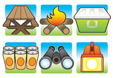 Camping Icons in Color. Various items that are nice to have on a camping trip Stock Photo