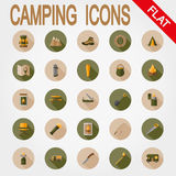 Camping icons. Flat. Stock Images