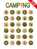 Camping icons. Flat. Camping. Icon set for web and mobile application. Vector illustrations on a buttons with a long shadow. Flat design style Royalty Free Stock Images