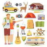 Camping icons  flat set Stock Photography
