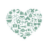 Camping icons in heart. On white background. Vector illustration Royalty Free Stock Photos