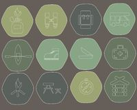 Camping icons of the hexagon. Green khaki dark blue background  Stock Images