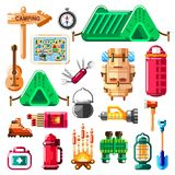 Camping icons and isolated design elements set. Vector camp stuff, equipment and tools.  Royalty Free Stock Images