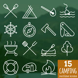 Camping icons. Pixel perfect vector outline icons. Set of 15 pixel perfect outline vector Camping icons Stock Photo