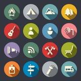 Camping icons set. Camping flat icons set Royalty Free Stock Photos
