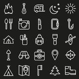 Camping icons set on black background. Created For Mobile, Web, Decor, Print Products, Applications. Icon . Vector illustration Stock Photography