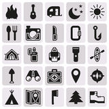 Camping icons set on button background. Created For Mobile, Web, Decor, Print Products, Applications. Icon . Vector illustration Stock Illustration