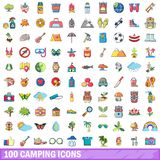 100 camping icons set, cartoon style. 100 camping icons set. Cartoon illustration of 100 camping vector icons isolated on white background Royalty Free Stock Photography