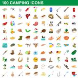 100 camping icons set, cartoon style. 100 camping icons set in cartoon style for any design illustration stock illustration