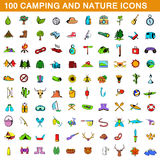 100 camping icons set, cartoon style. 100 camping icons set in cartoon style for any design vector illustration Royalty Free Stock Photos