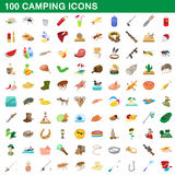 100 camping icons set, cartoon style. 100 camping icons set in cartoon style for any design vector illustration Stock Photo