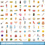 100 camping icons set, cartoon style Stock Image