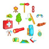 Camping icons set, cartoon style. Camping icons set in cartoon style. Camping equipment set collection vector illustration Royalty Free Stock Images