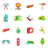Camping icons set, cartoon style. Camping icons set in cartoon style. Camping equipment set collection vector illustration Royalty Free Stock Photography