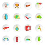 Camping icons set, cartoon style. Camping icons set in cartoon style. Camping equipment set collection vector illustration Stock Images