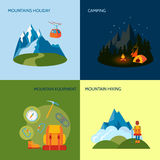 Camping icons set flat Stock Photography