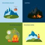 Camping icons set flat royalty free illustration