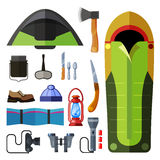 Camping icons set. Camping flat style colorful icon set. Vector isolated illustration Stock Photo