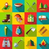 Camping icons set, flat style. Camping icons set in flat style. Recreation tourism set collection vector illustration Royalty Free Stock Photo