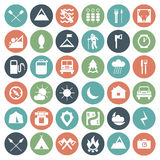Camping icons set Stock Images