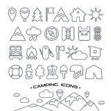 Camping icons. Set of camping and hiking icons in thin line style. Black icons on white background Royalty Free Stock Photos