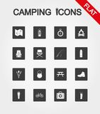 Camping icons set. Icon. Vector. Flat. Camping icons set for web and mobile application. Vector illustration on a white background. Flat design style Stock Photos