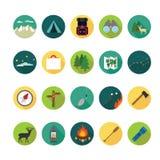 Camping icons set. Royalty Free Stock Photo