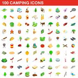 100 camping icons set, isometric 3d style. 100 camping icons set in isometric 3d style for any design illustration royalty free illustration