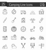 Camping Icons. Set of 25 Camping line icons Stock Images