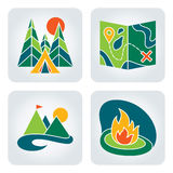 Camping icons. Set of 4 camping and nature icons in flat style stock illustration