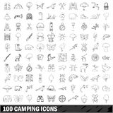 100 camping icons set, outline style Royalty Free Stock Image