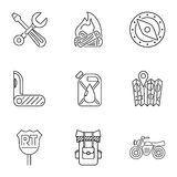Camping icons set, outline style. Camping icons set. Outline illustration of 9 camping vector icons for web Stock Images