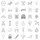 Camping icons set, outline style Royalty Free Stock Photo