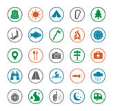 Camping icons set. Silhouette Stock Images
