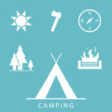 Camping Icons. Set in simple, flat design style Royalty Free Stock Image